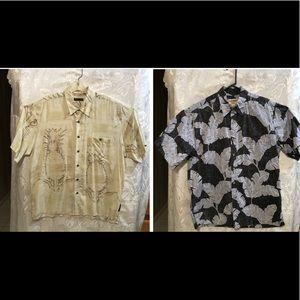 2 Short Sleeve Button Down Hawaiian Shirts Large